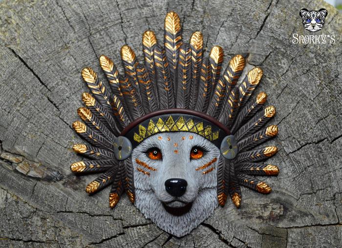 Хау, бледнолицые! Полимерная глина, Ручная работа, Волк, Индейцы, Вождь, Длиннопост