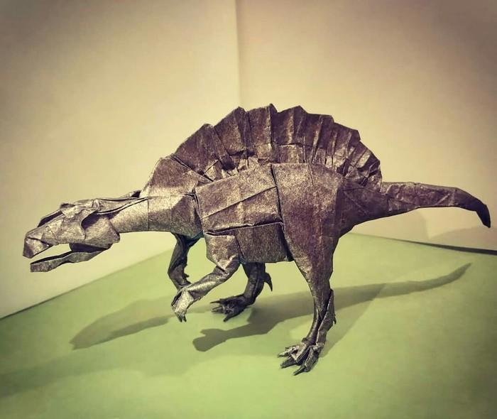 Spinosaurus (Satoshi Kamiya) Оригами, Лига оригами, Сатоши Камия, Динозавры, Бумага, Длиннопост