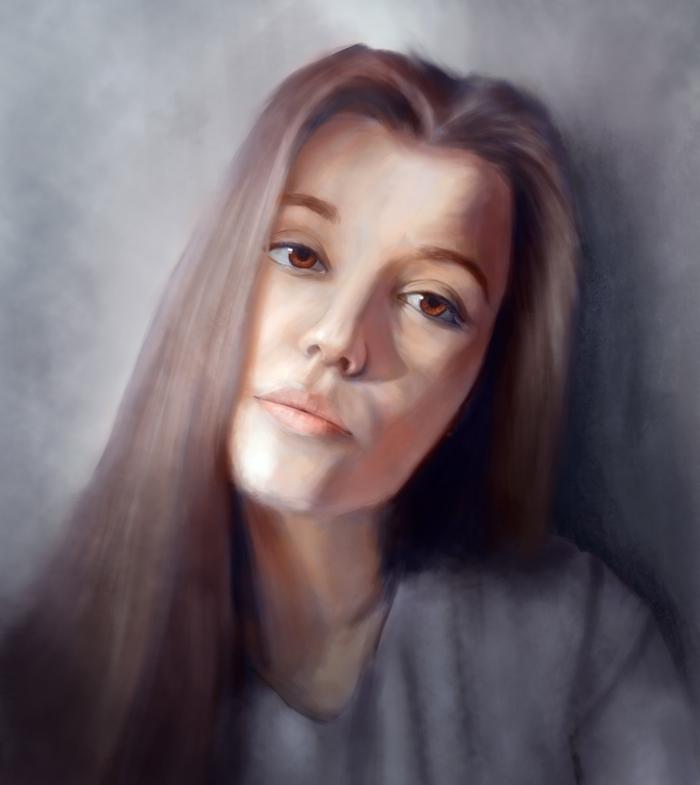 Портрет девушки Портрет, Девушки, Арт, Рисунок, Цифровой рисунок, Планшет, Wacom