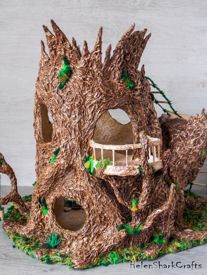 Кукольный дом (домик феи) из папье-маше Кукольный дом, Кукольный домик, Папье-Маше, Полимерная глина, Миниатюра, Рукоделие без процесса, Ручная работа, Длиннопост