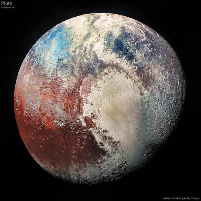 Новая качественная фотография Плутона в необычных цветах
