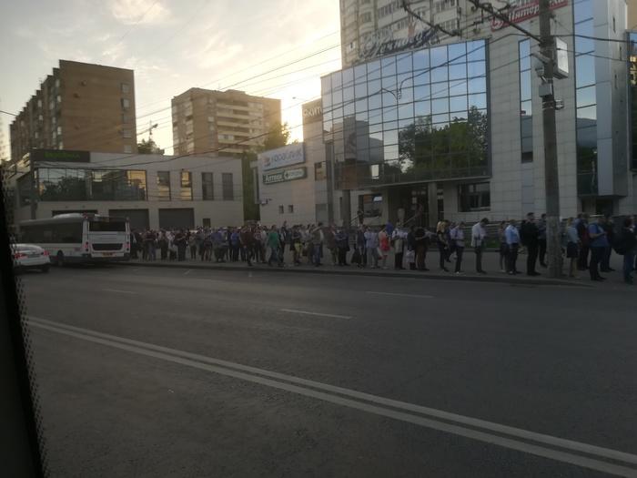 М. Речной вокзал. Фотография, Москва, Очередь, Общественный транспорт, Автобус, Люди, Длиннопост