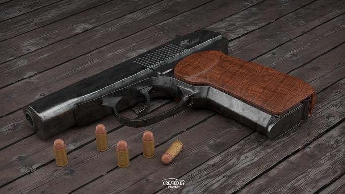 Пистолет Макарова (3d) Blender, Cycles, Оружие, 3d моделирование, 3d, Пистолеты