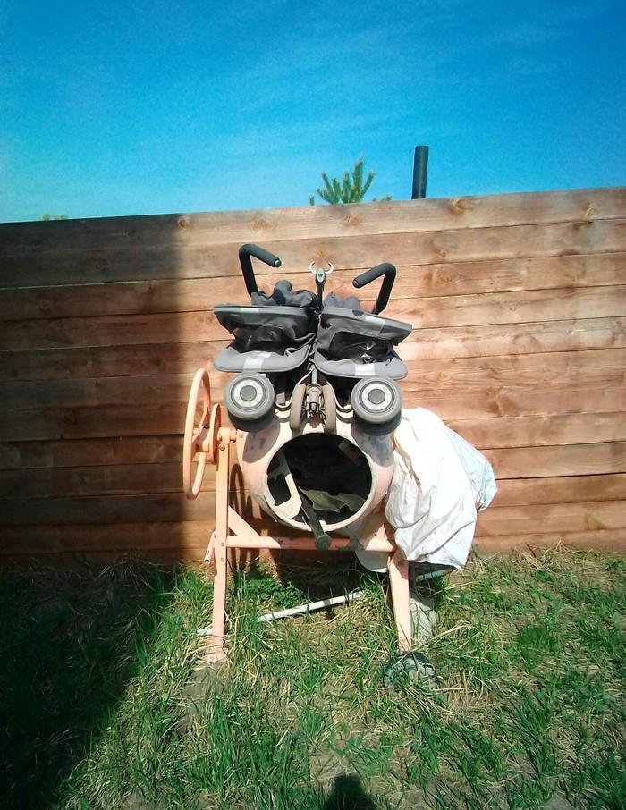 Детская коляска + бетономешалка Детская коляска, Бетономешалка