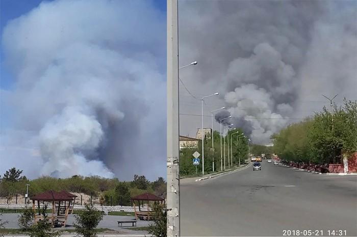 Лесной пожар не подалеку от г. Семей (Семипалатинск) выглядит как извержение вулкана. Семипалатинск, Казахстан, Пожар, Лес, Май, Длиннопост