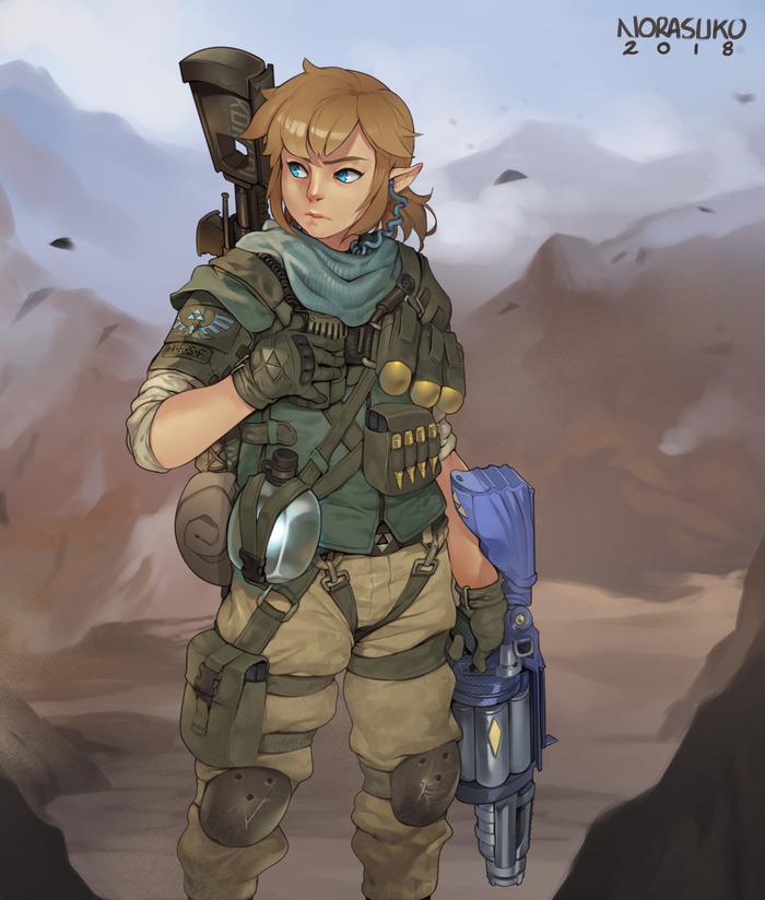 LoZ: Metal Gear Link, The Legend of Zelda, Breath of the wild, Norasuko, Арт, Милитари
