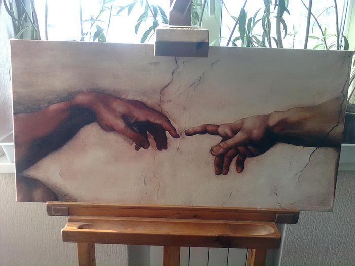 Сотворение Адама (фрагмент, холст, масло)