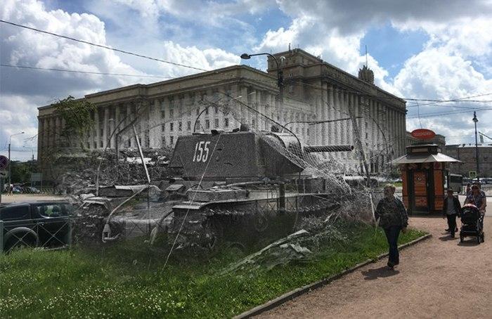 Прошлое рядом. Санкт-Петербург, Демонстрационный проезд, вид на Дом советов. Проходил мимо, вспомнил фотку КВ, сделал фотошоп.