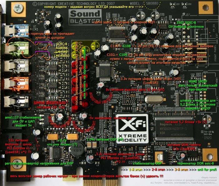 Наводки на фронтах, X-Fi Titanium SB0880 Звуковая карта, Шум, Наводки, Ремонт, Creative