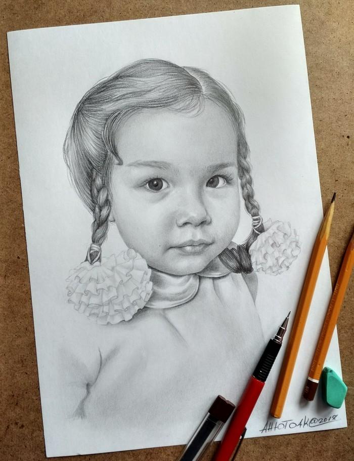Мои работы Портрет, арт, рисунок, карандаш, дети, девочка