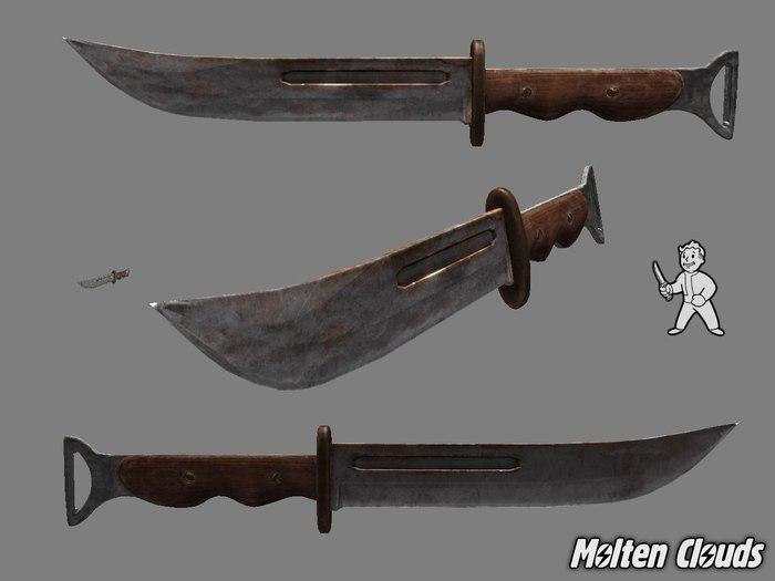 3D Модели оружия ближнего боя из Fallout 1-2 Molten Clouds, Fallout, Разработка, Нож, Бита, Гаечный ключ, Игры, Компьютерные игры, Длиннопост