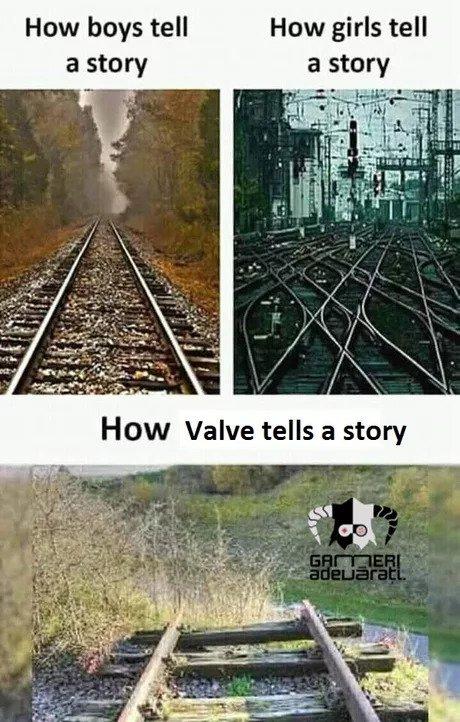 Как валве рассказывают историю Железная дорога, Valve, Вольво, Half-Life, Имга