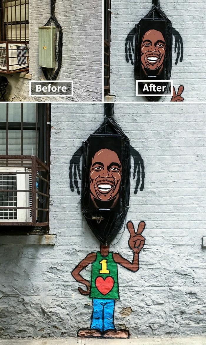 До и после Граффити, Живое граффити, До и после, Imgur, Подборка, Длиннопост