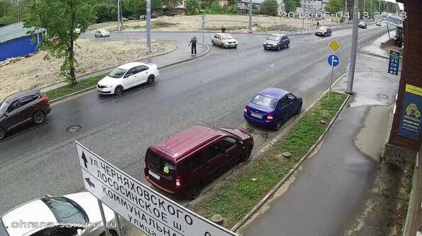 Какая встреча #3 ДТП, Петрозаводск, Встреча, Пешеход, Приора, Гифка