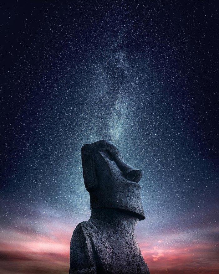 Остров Пасхи, ночь Фотография, Остров Пасхи