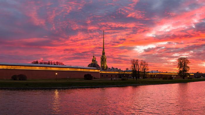 Закат в Санкт-Петербурге Битва закатов, Петропавловская крепость, Санкт-Петербург