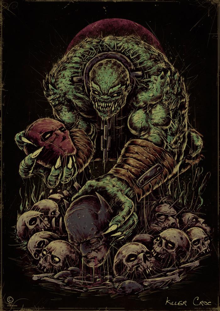 Крок Убийца крок, Killer croc, Dc comics, Длиннопост, Суперзлодеи, Рисунок, Цифровой рисунок