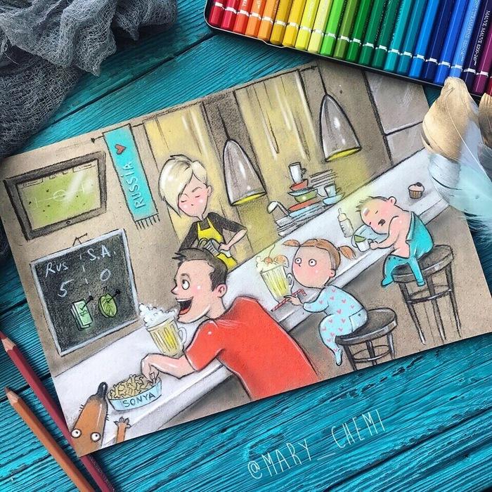 Mom`s mundial pub Материнство, Чемпионат мира по футболу 2018, Иллюстрации, Карикатура, Футбол, Рисунок