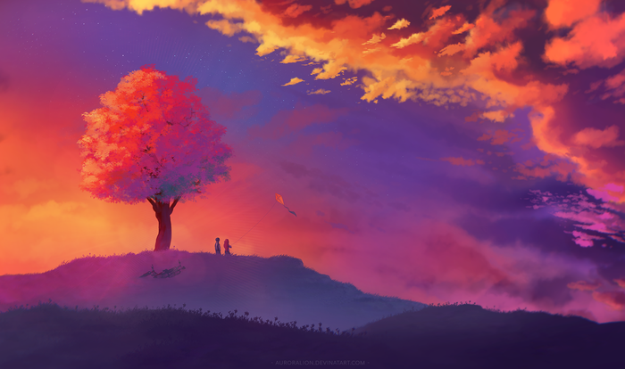 Heights арт, закат, дерево, облака