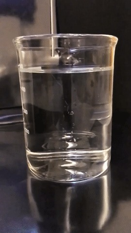 Реагент ECL на основе люминола вводят в раствор, содержащий 10% отбеливателя.