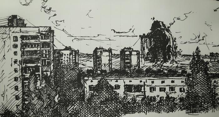 """Порванный мир #???. """"Отдых"""" VeoWind, Порванный мир, Рисунок, Зарисовка, Фантастика, Пейзаж, Город, Линер"""