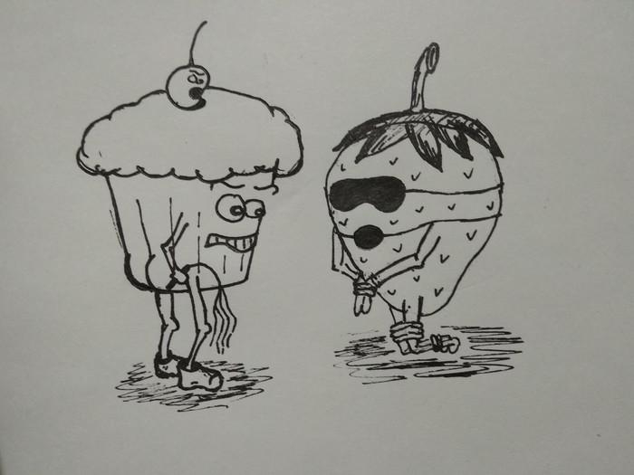Кексик и клубничка