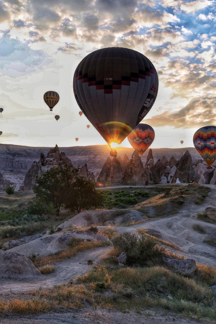 Рассвет в Каппадокии Каппадокия, Воздушный шар, Рассвет, Фотография