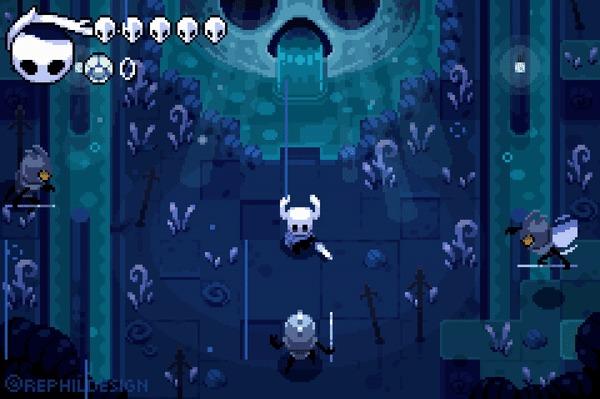 Rouge-like Hollow knight Hollow Knight, Игры, Арт, Pixel Art, Roguelike, Гифка