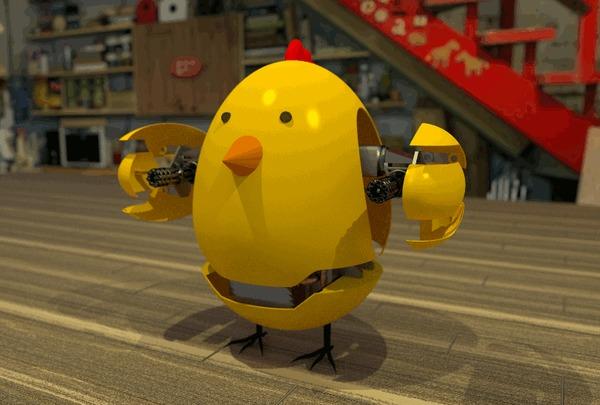 РобоЦып Blender, 3d моделирование, Робот, Робоцып, Пулемёт, Миниган, Анимация, Gif анимация, Гифка, Длиннопост