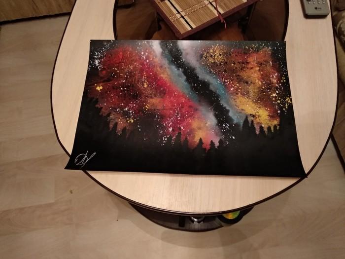 Решил выложить то, что недавно получилось Арт, Картина, Spray art, Рисование, Космос, Шакалы, Плохое качество, Фотография, Длиннопост