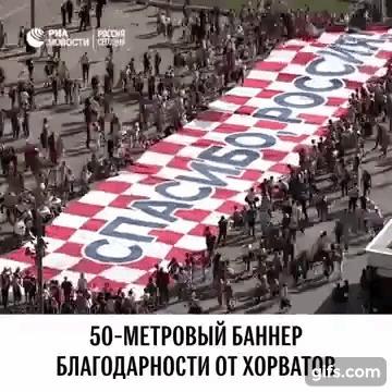 Хорваты говорят спасибо Спорт, Футбол, Чемпионат мира по футболу 2018, Сборная Хорватии, Финал, Болельщики, Респект, Гифка