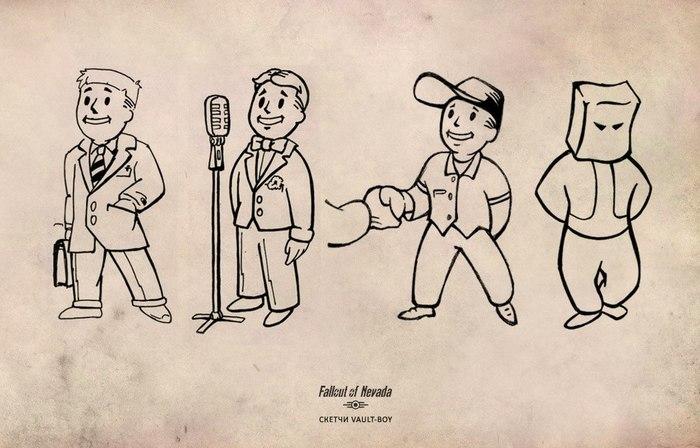 Сборник классических волт-боев от художника Fallout Nevada Fallout, Fallout of Nevada, Игры, Скетч, Vault Boy, Компьютерные игры, Рисунок, Длиннопост