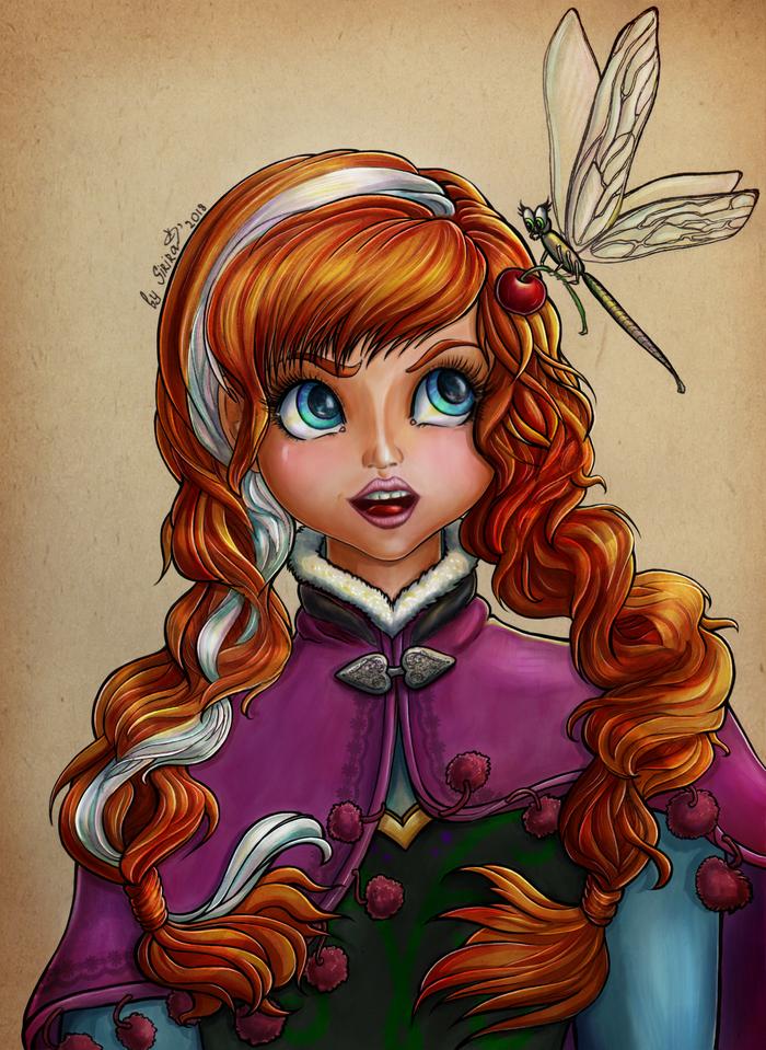 Анна со стрекозой. арт, Дисней, Холодное сердце, фан-арт