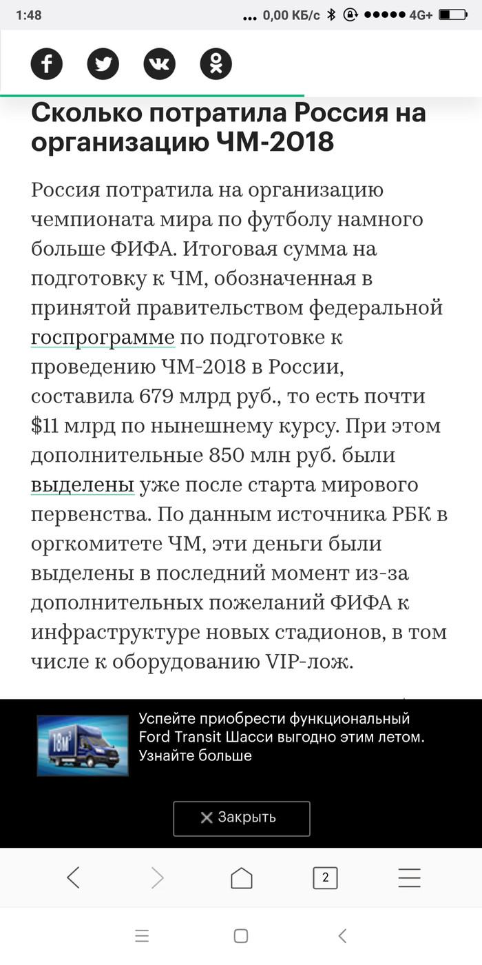 Итоги ЧМ-2018 перед финалом Чемпионат мира по футболу 2018, Растрата, Длиннопост