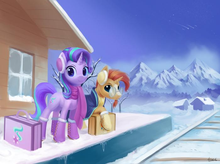 Winter Solstice My little pony, Starlight Glimmer, Sunburst, Ponyart