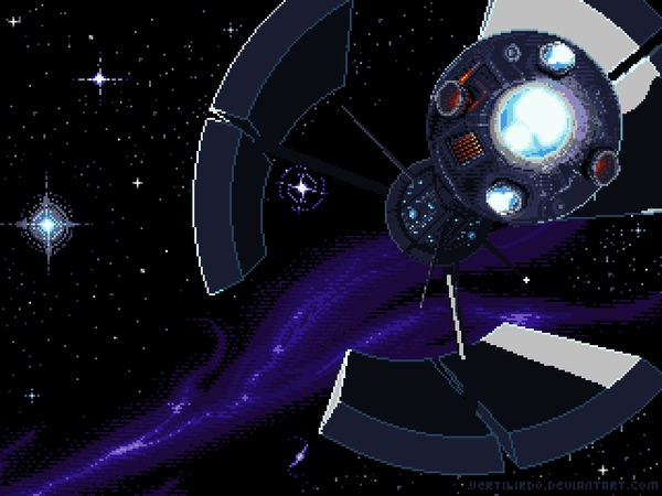 Дальняя экспедиция Pixel Art, Фантастика, Космос, Анимация, Моё, Гифка, Coub, Длиннопост