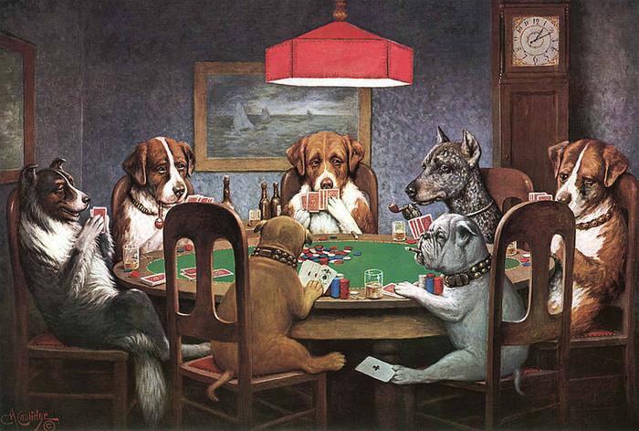 Собаки, играющие в покер Азартные игры, Календарь, Карты, Покер, Собака, Картина, Длиннопост