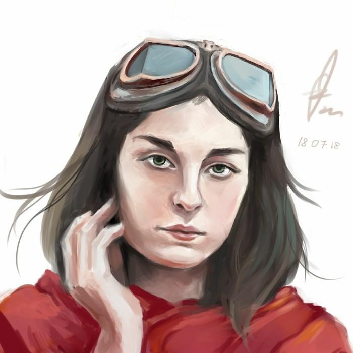 Девушка Рисунок, SAI, Портрет, Цифровой рисунок, Девушки, Очки, Пилотные очки