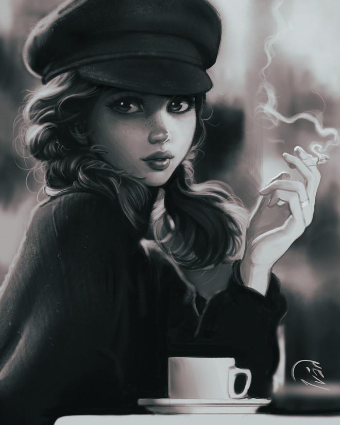 Просто кофе. Портрет, Девушки, Кофе, Сигареты, Арт, Digital