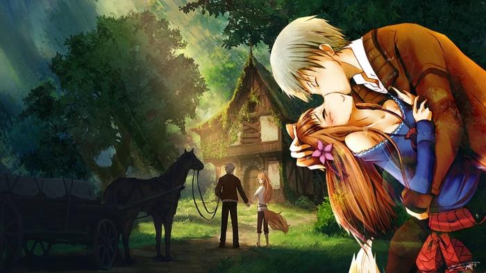 Волчица и пряности Anime Art, Аниме, Волчица и пряности, Horo, Holo, Kraft Lawrence, Коллаж