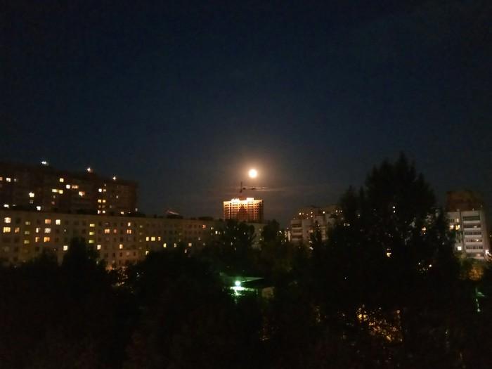 Луна в преддверии затмения Луна, Фотография, Полнолуние, Ночная съемка