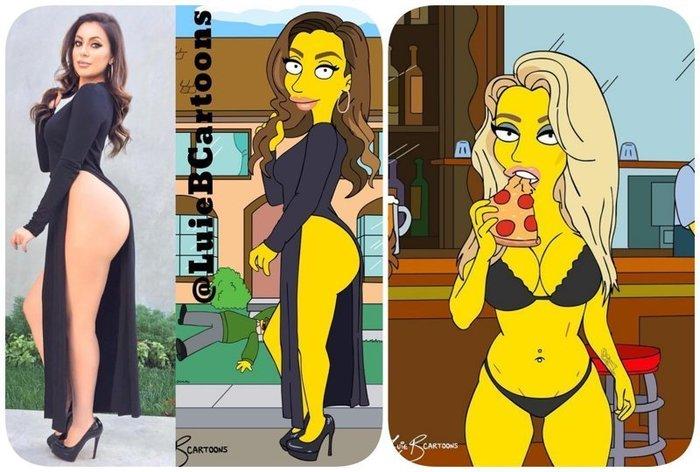"""Дизайнер превращает обычных людей в героев мультсериала """"Симпсоны"""" Девушки, Симпсоны, Рисунок, Длиннопост"""
