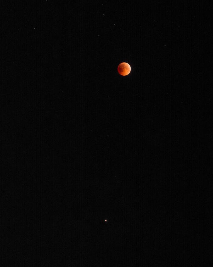 Спутник и планета Луна, Марс, Начинающий фотограф