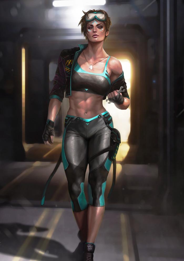 Sci-Fi Soldier and Engineer Omupied, Арт, Крепкая девушка, Спортивные девушки, Научная фантастика, Фитоняшка, Длиннопост