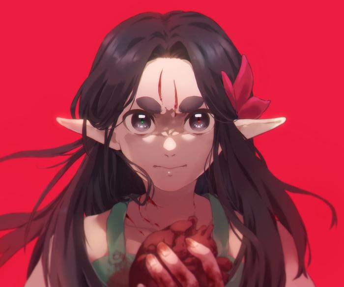 Кровожадная девочка Аниме, Anime Original, SAI, Photoshop, Рисунок на планшете, Рисунок, Девочка, Сердце
