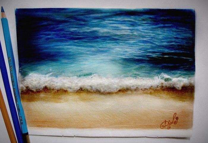 Пост в поддержку всех мечтающих о море. Ребята, я с вами! Море, Цветные карандаши, Рисунок, Арт, Отдых, Пляж, Творчество