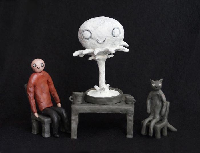 Человек и кот за столом Пластилин, Человек, Кот, Рукоделие без процесса