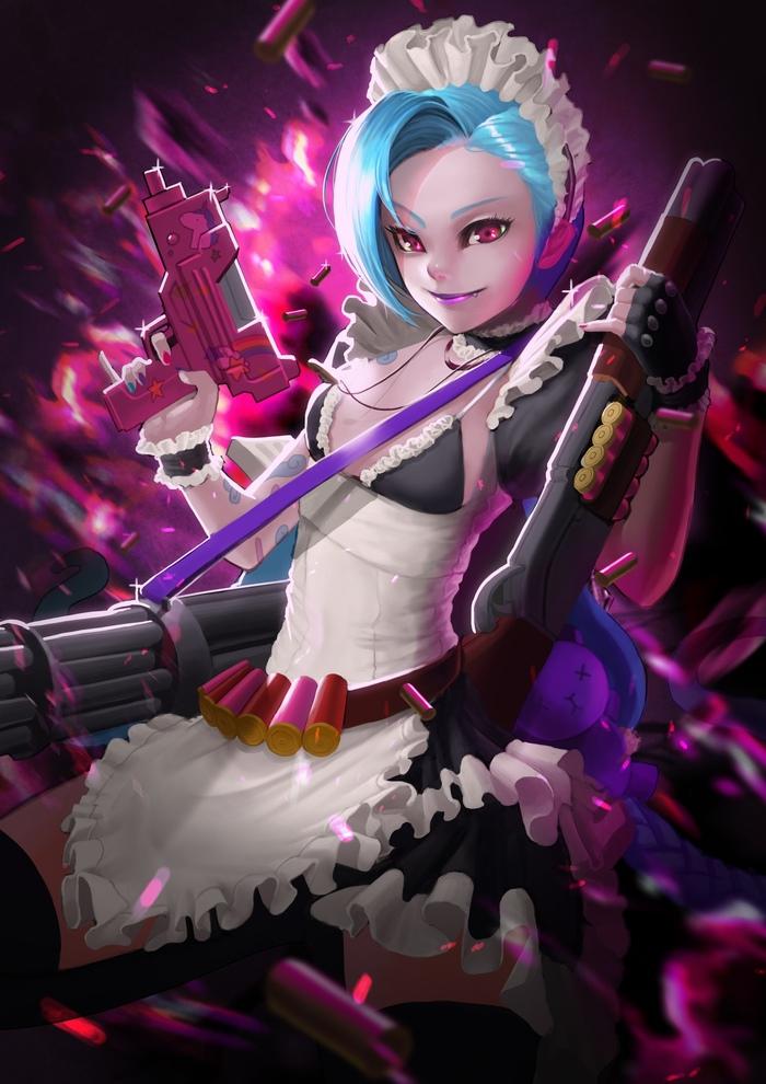 Maid Jinx Art Арт, Game art, Yu dogk, Lol, League of Legends, Maid, Jinx