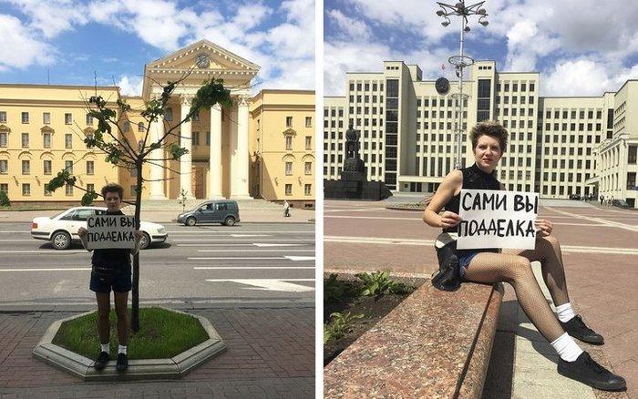 """Активистка ЛГБТ избежала третьего суда за снимки с плакатом """"Сами вы подделка"""": истек срок давности Новости, Беларусь"""