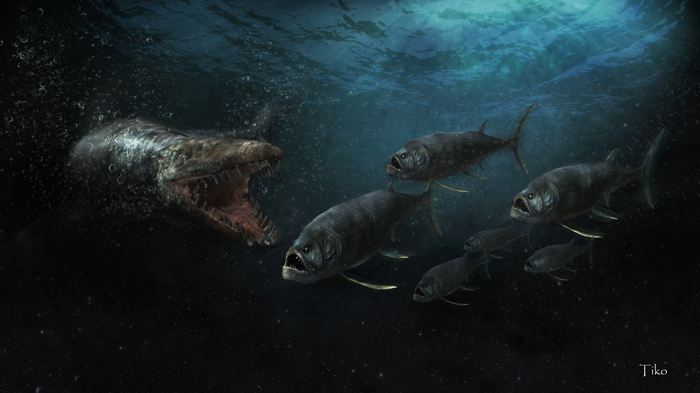Охота наКсифактинов Zbrush, 3ds max, Фотоманипуляции, Доисторические животные, Ксифактин, Тилозавр, Копипаста